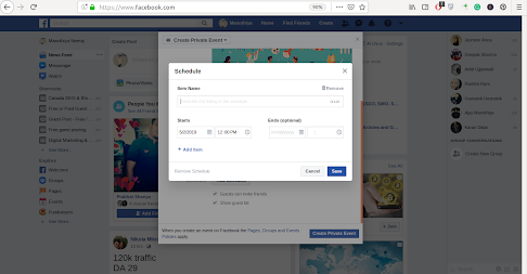 Schedule process in event creation of Facebook